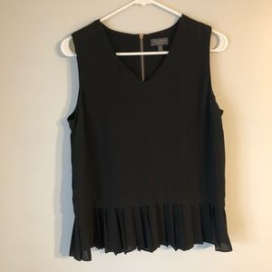 Black Blouse with Pleated Bottom